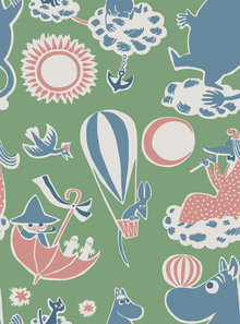 Tapet - Moomin Retro Pattern - Green