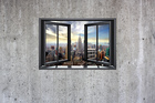 Wall mural - New York Through Window - Concrete Wall