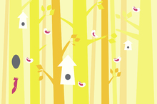 Wall mural - Birdforest - Yellow and Pink