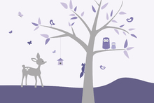Wall mural - Animal Tree Purple Deer
