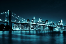 Canvas-taulu - Brooklyn Bridge - Blue