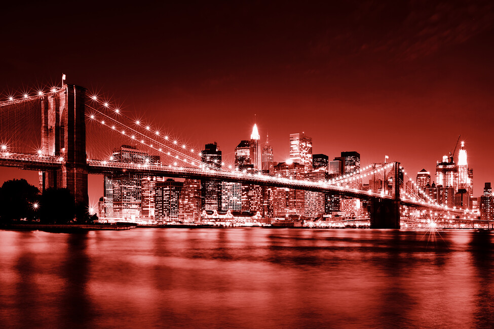 Brooklyn bridge red wall mural photo wallpaper for Brooklyn bridge mural wallpaper