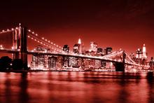 Wall mural - Brooklyn Bridge - Red
