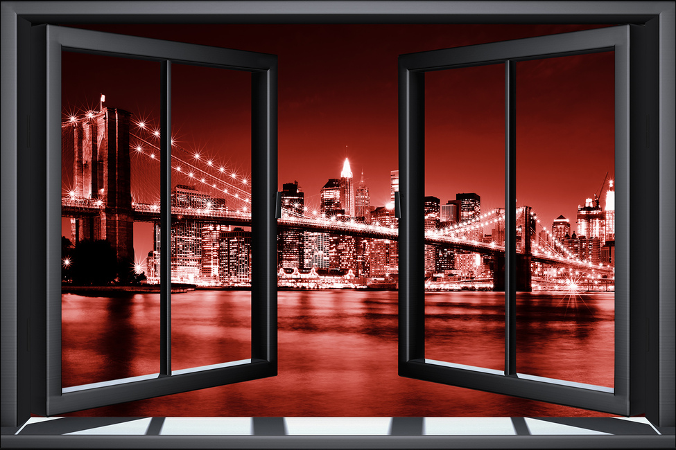 Brooklyn Bridge Through Window - Red