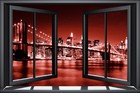 Canvastavla - Brooklyn Bridge Through Window - Red