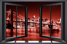 Wall mural - Brooklyn Bridge Through Window - Red