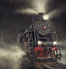 Fototapet - Train in the Rain