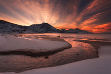 Fototapet - Golden Sunset in Norway