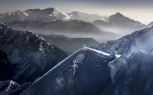 Fototapet - Skier on Mountain Top