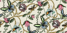 Wallpaper - Bugs & Butterflies Offwhite - Small