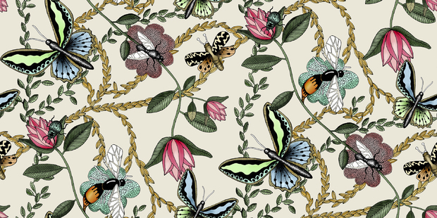 Bugs & Butterflies Offwhite - Small