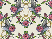 Wallpaper - Budgies Medallion Offwhite
