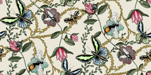 Wallpaper - Bugs & Butterflies Offwhite & - Large