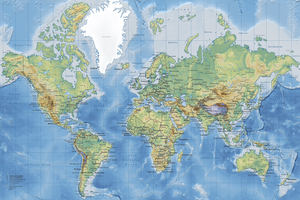 World Map Detailed Wall Mural Photo Wallpaper Photowall - Detailed world map