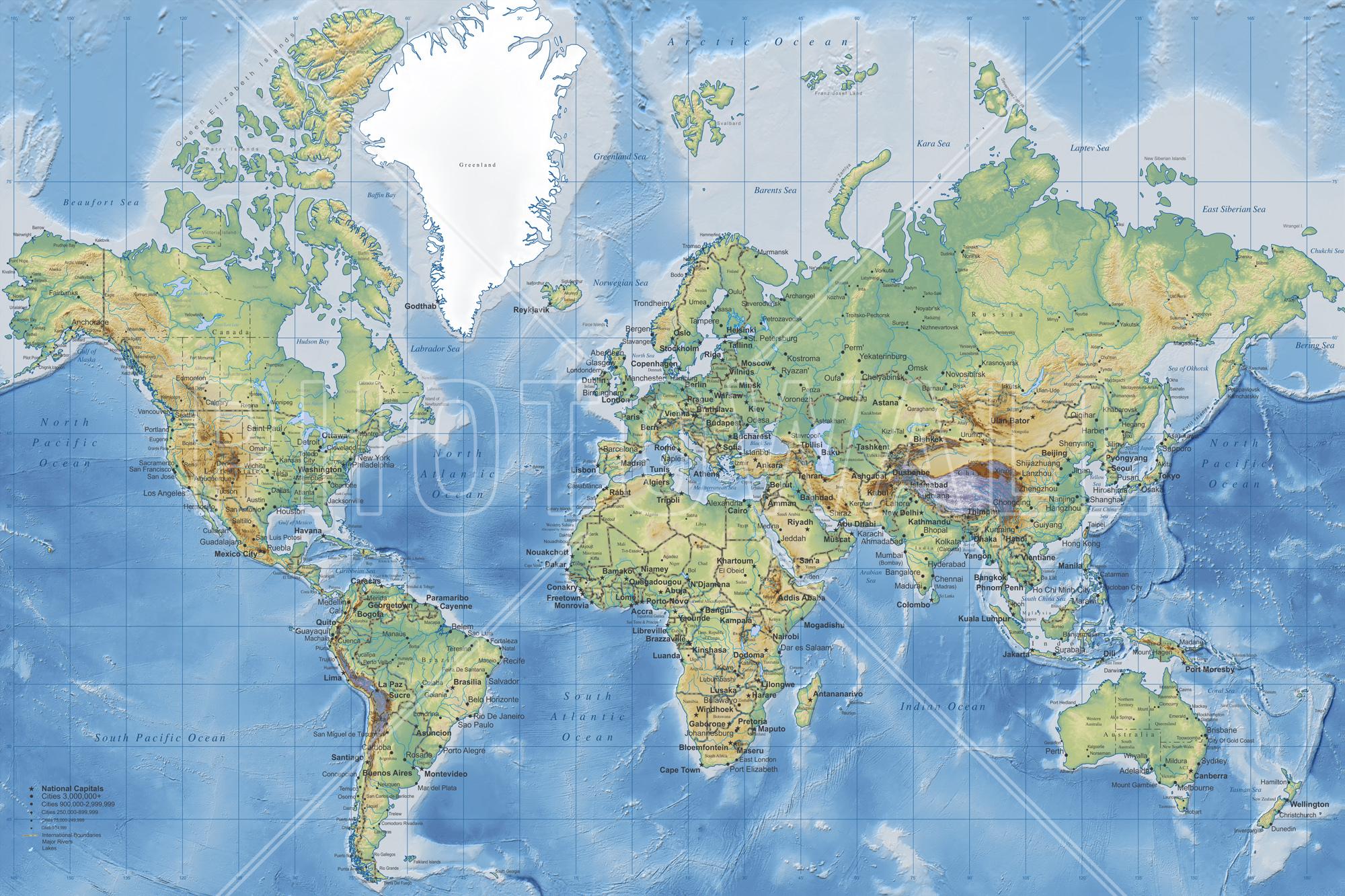 wall mural world map detailed World Wallpaper