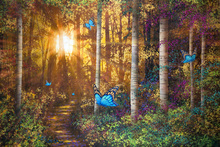 Fototapet - Forest Trail with Butterflies