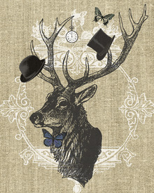 Canvas print - Gentleman Stag Butterfly Linen
