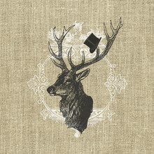 Canvas print - Gentleman Stag Linen