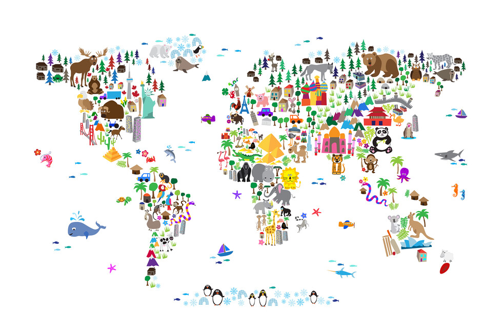 Animal map of the world wall mural photo wallpaper photowall animal map of the world gumiabroncs Gallery