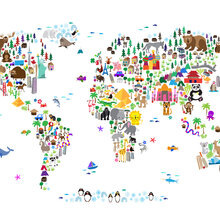Childrens wallpaper photowall wall mural animal map of the world gumiabroncs Image collections