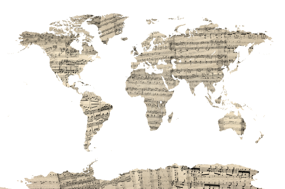 Old Music Sheet World Map