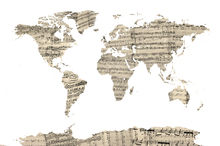 Fotobehang - Old Music Sheet World Map