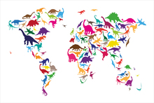 Mural de pared - Dinosaur World Map