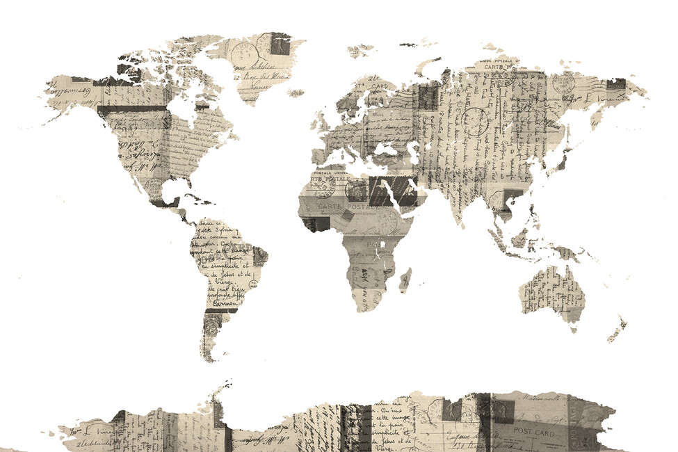 Old Postcards World Map Wall Mural Photo Wallpaper Photowall – Map World Mural