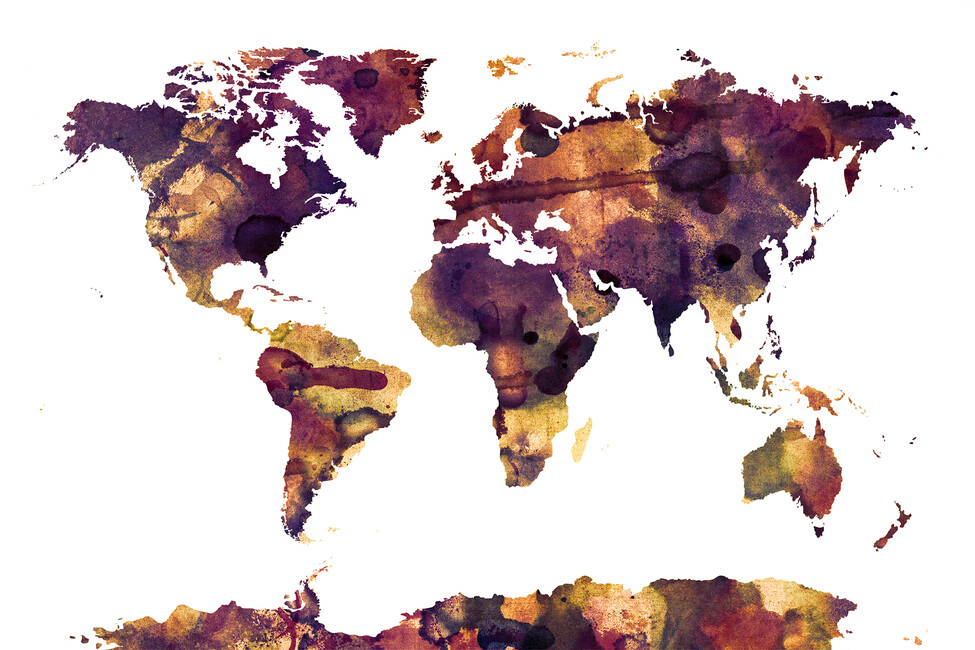 Watercolor world map purple wall mural photo wallpaper photowall watercolor world map purple gumiabroncs Images
