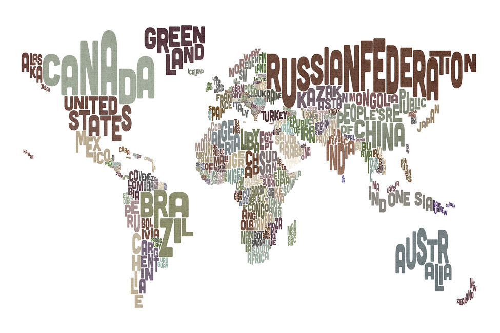 Typographic text world map brown wall mural photo for Black and white world map wall mural