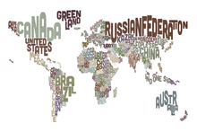 Canvastavla - Typographic Text World Map Brown