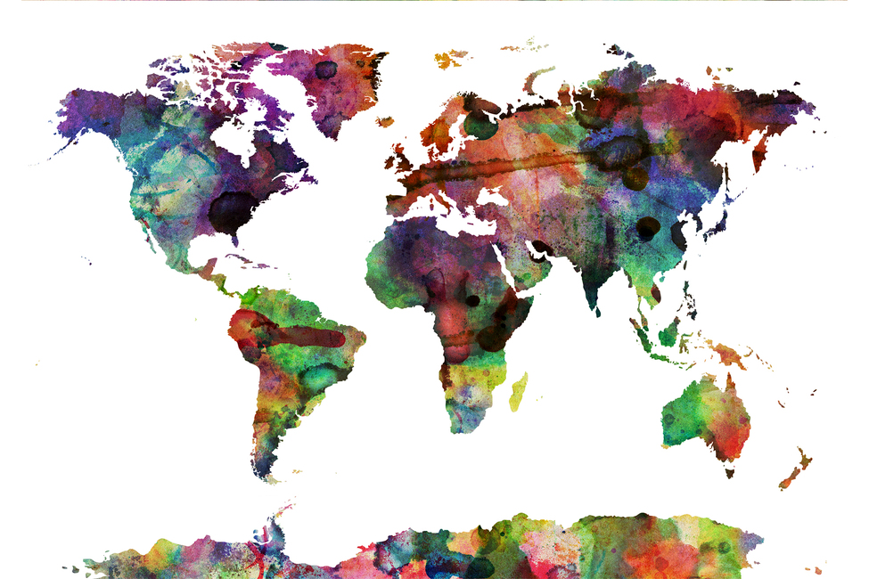 Watercolor World Map Multicolor
