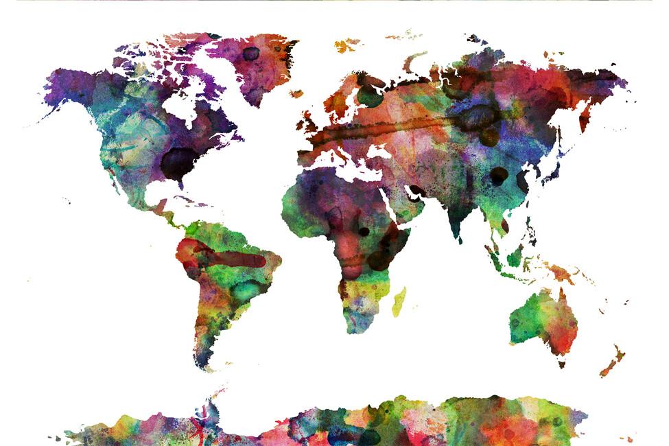 watercolor world map multicolor wall mural photo. Black Bedroom Furniture Sets. Home Design Ideas
