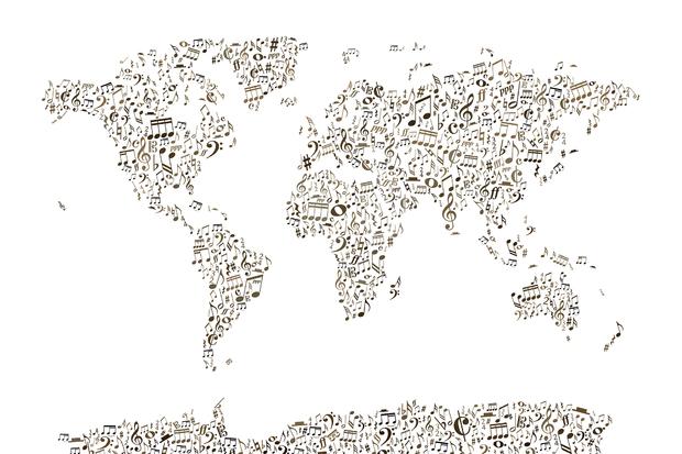 Music Notes World Map Wall Mural Photo Wallpaper Photowall