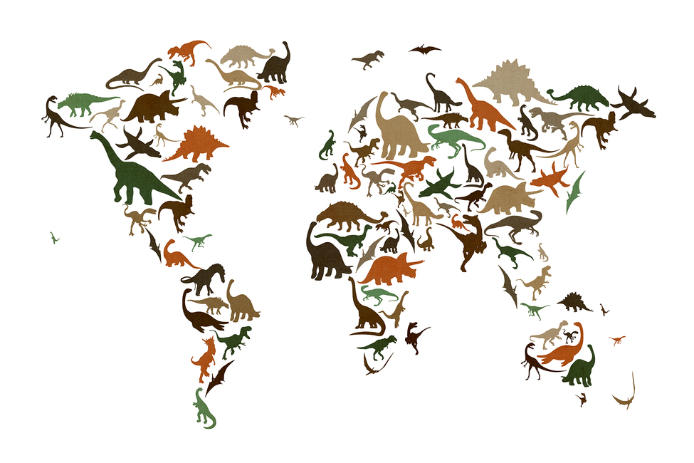 Dinosaur World Map Multicolor