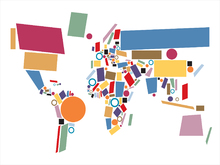 Mural de pared - Abstract World Map Squares