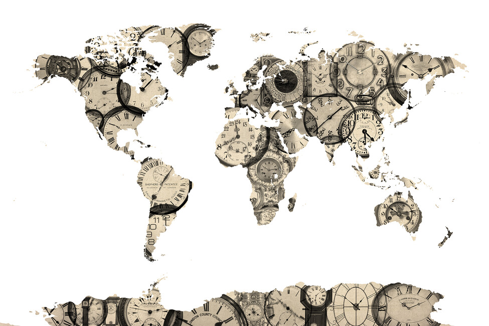 Old clocks world map wall mural photo wallpaper for Antique world map wallpaper mural