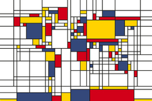 Fotobehang - Piet Mondrian Style World Map