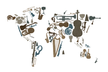 Mural de pared - Music Instruments World Map