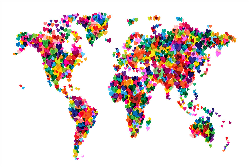 Hearts world map wall mural photo wallpaper photowall for Kitchen colors with white cabinets with kids world map wall art