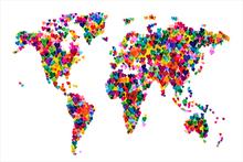 Wall mural - Hearts World Map