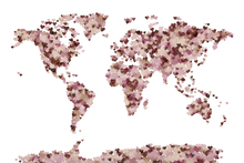 Canvastavla - Hearts World Map Pink