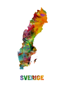 Canvastavla - Sweden Watercolor Map