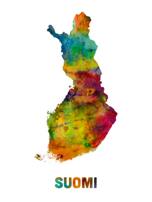 Fototapet - Finland Watercolor Map