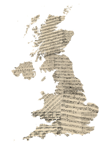 Canvastavla - Great Britain Old Music Sheet Map
