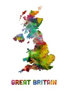 Fototapet - Great Britain Watercolor Map