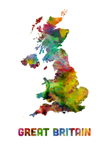 Fototapet - Great Britain Watercolor Map