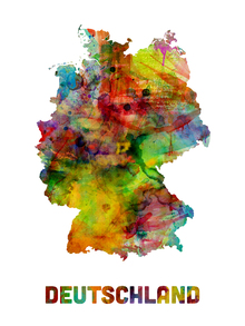 Canvastavla - Germany Watercolor Map
