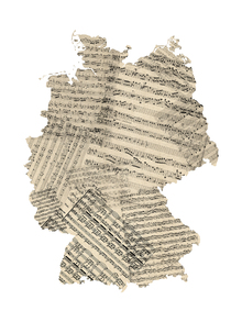 Fototapet - Germany Old Music Sheet Map