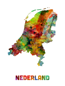 Fototapet - Netherlands Watercolor Map